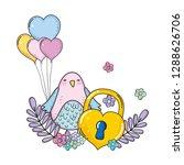 cute little bird with balloons... | Shutterstock .eps vector #1288626706