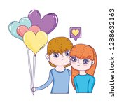 young lovers couple with... | Shutterstock .eps vector #1288632163