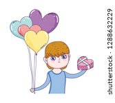 young cute lover boy with... | Shutterstock .eps vector #1288632229
