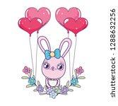 cute rabbit with balloons... | Shutterstock .eps vector #1288632256