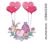 cute love reindeer with... | Shutterstock .eps vector #1288632340