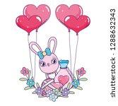 cute rabbit with balloons... | Shutterstock .eps vector #1288632343