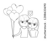 young lovers couple with... | Shutterstock .eps vector #1288633690