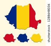 romania map with national flag | Shutterstock .eps vector #1288648036