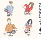 barista characters  set of... | Shutterstock .eps vector #1288648900