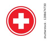 first aid. medical cross icon.... | Shutterstock . vector #1288674730