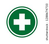 first aid. medical cross icon.... | Shutterstock . vector #1288674733