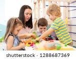 group of kindergarten children...   Shutterstock . vector #1288687369