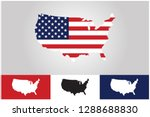 map of usa with flags stuck in... | Shutterstock .eps vector #1288688830