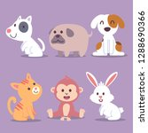 animal cartoon icon set with... | Shutterstock .eps vector #1288690366