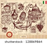 Vector hand drawn illustration with Italian symbols - stock vector