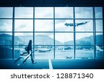 modern airport scene of... | Shutterstock . vector #128871340