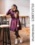 beautiful fashionable woman in... | Shutterstock . vector #1288715710