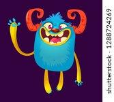 happy cartoon monster. vector... | Shutterstock .eps vector #1288724269