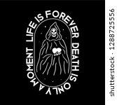 skeleton death by heart black... | Shutterstock .eps vector #1288725556