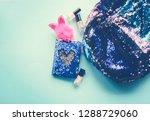 bright composition of fashion... | Shutterstock . vector #1288729060