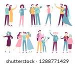 people taking selfie on... | Shutterstock . vector #1288771429