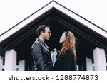 loving couple in town on a date.... | Shutterstock . vector #1288774873