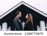 loving couple in town on a date.... | Shutterstock . vector #1288774879