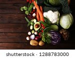 composition with variety of raw ... | Shutterstock . vector #1288783000