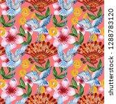 hand drawn seamless background... | Shutterstock . vector #1288783120