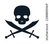 pirate skull icon vector logo... | Shutterstock .eps vector #1288800469