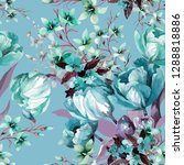 light turquoise tulips and... | Shutterstock . vector #1288818886