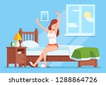 lady wakes up morning. lady is... | Shutterstock .eps vector #1288864726