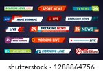 Stock vector tv news bar television broadcast media title banner sports tv show news channel media bar header 1288864756