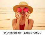 beauty surprised fashion model... | Shutterstock . vector #1288872520