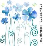 dlue flowers in watercolor style | Shutterstock .eps vector #1288874623
