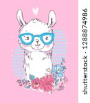 hand drawn cute llama with... | Shutterstock .eps vector #1288874986