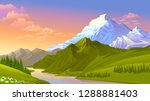 the sun setting on the icy... | Shutterstock .eps vector #1288881403