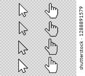 pixel mouse cursors. arrow... | Shutterstock .eps vector #1288891579