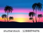 sunset and tropical palm trees... | Shutterstock .eps vector #1288894696
