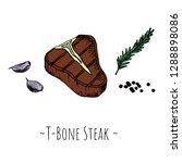 t bone steak. isolated objects...   Shutterstock .eps vector #1288898086