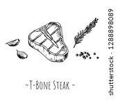 t bone steak. isolated objects...   Shutterstock .eps vector #1288898089