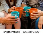 group of friends making a toast ... | Shutterstock . vector #1288899229