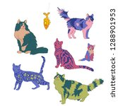vector drawing of cats. cats of ... | Shutterstock .eps vector #1288901953