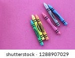 Colorful Crayon  On Pink...