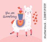 valentine's day cute  llama...   Shutterstock .eps vector #1288919359