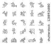 accident  icon set. falls ... | Shutterstock .eps vector #1288926880
