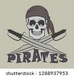 skull in a bandana with sabers... | Shutterstock .eps vector #1288937953
