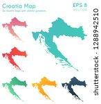 map of croatia with beautiful...   Shutterstock .eps vector #1288942510