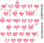 set of pink hearts with...