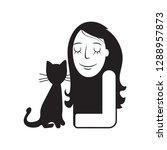 girl with black cat cartoon... | Shutterstock .eps vector #1288957873