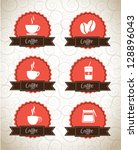 coffee icons over seal and... | Shutterstock .eps vector #128896043