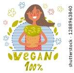 vegan girl with greens | Shutterstock .eps vector #1288963840