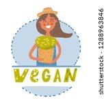 vegan girl with greens | Shutterstock .eps vector #1288963846