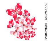 beautiful red butterflies ... | Shutterstock . vector #1288964773